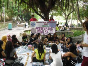 Beberapa Pegiat Indonesian Migrant Workers Union (IMWU) Macau saat merayakan ulang tahun IMWU Macau yang ke 11