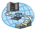 Ilustrasi: Pengiriman uang saat bisa melalui perantara internet.