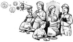 Ilustrasi Kelola Informasi Bagi Buruh Migran