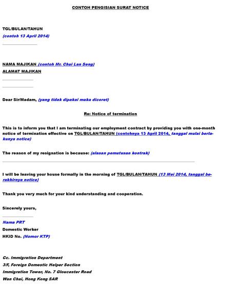 Mengenal One Month Notice Di Hong Kong Pusat Sumber Daya