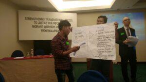 Samsuri, Pengiat Serantau Malaysia saat memaparkan ragam persoalan pelanggaran hak yang dialami BMI di Malaysia