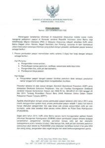 Himbauan Mengenai Pembuan Paspor di KJRI Johor Bahru