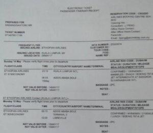 Tiket Kedua yang dibeli Dadang untuk penerbangan ke Ethopia pun hangus akibat tindak pencekalan tanpa prosedur yang dilakukan Imigrasi Juanda