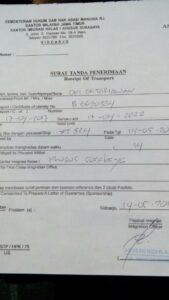 Surat Pengantar dari Imigrasi Sidoarjo yang diterima BMI/TKI a.n Oki