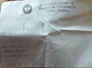 Loket antrian pengaduan Zulfi di KJRI Johor Bahru
