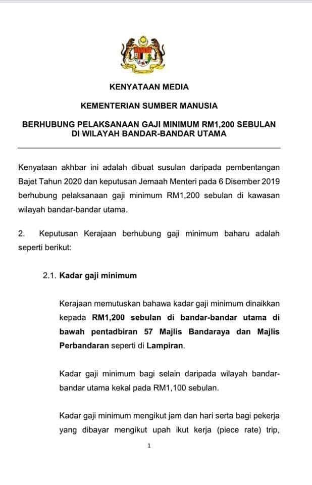 Kementerian Sumber Manusia Malaysia Umumkan Kenaikan Upah Minimum Pusat Sumber Daya Buruh Migran