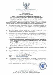 Pengumuman Pelayanan KJRI Johor Bahru Pasca Malaysia Lakukan Kebijakan Lockdown